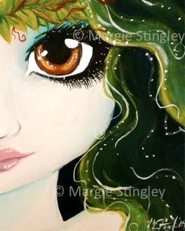 "Earth Fairy 2014 - 5"" x 7"" Acrylic on wood panel"
