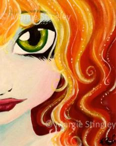 "Fire Fairy 2014 - 5"" x 7"" Acrylic on wood panel"