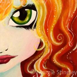 """Fire Fairy 2014 - 5"""" x 7"""" Acrylic on wood panel"""