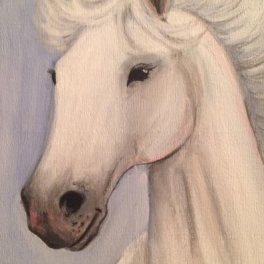 White Stallion - 5x7 acrylic on wood panel