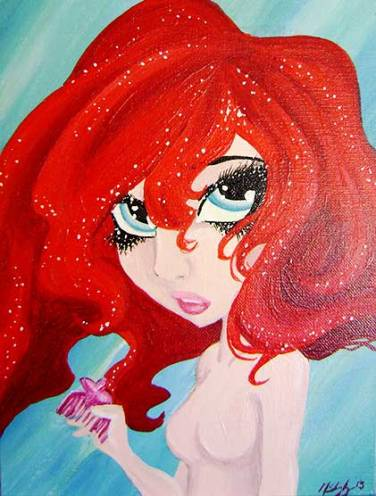 "Ariel from the Little Mermaid - 9"" x 12"" Acrylic on art board"